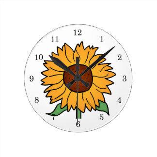 Cartoon Flowers, Summer Floral Sunflower Round Wall Clocks