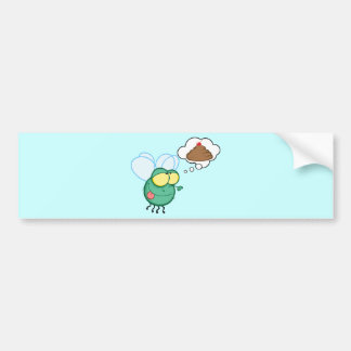 CARTOON FLY DREAMING POO CHERRY TOP FUNNY GROSS DI BUMPER STICKER