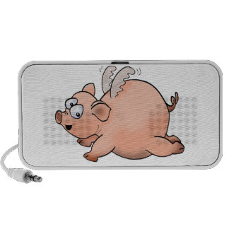 Cartoon flying pig with wings. Doodle speaker.