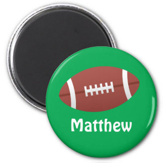 Cartoon football green personalized name 2 inch round magnet