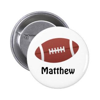 Cartoon football personalized name custom pinback button