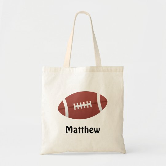 Cartoon football personalized name custom tote bag