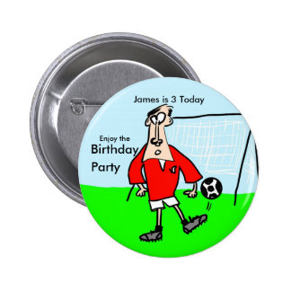 Cartoon footballer on the field with goal behind pinback button