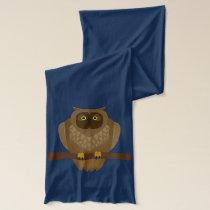 Cartoon Fox and an Owl on Perch Scarf