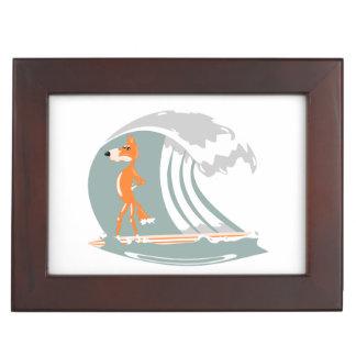 Cartoon Fox on a Surfboard Keepsake Box