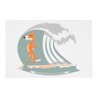 Cartoon Fox on a Surfboard Laminated Placemat