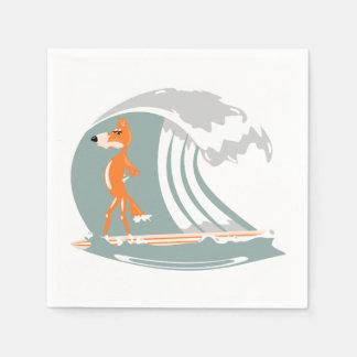 Cartoon Fox on a Surfboard Napkin