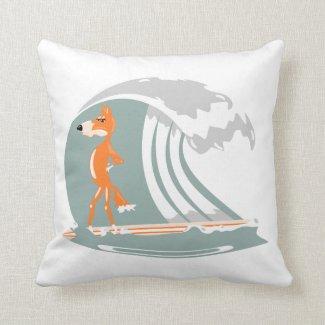 Cartoon Fox on a Surfboard Pillows