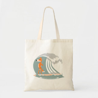 Cartoon Fox on a Surfboard Tote Bag