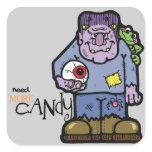 Cartoon Frankenstein Halloween Square Sticker
