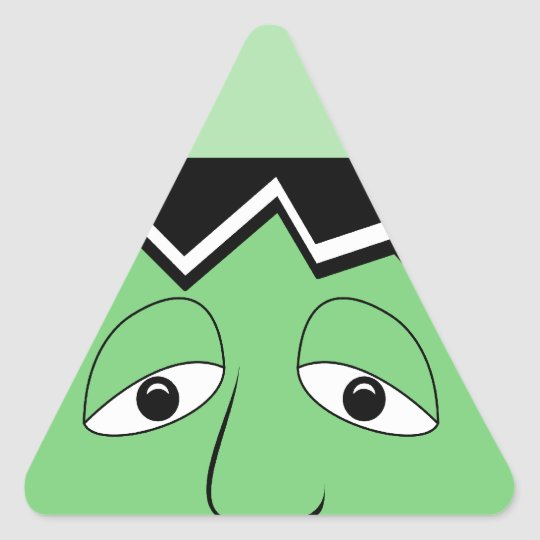 Cartoon Frankenstein Monster Face Triangle Sticker