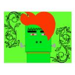 Cartoon Frankenstein's Monster shock orange hair Postcards