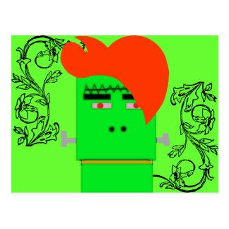 Cartoon Frankenstein's Monster shock orange hair Postcard