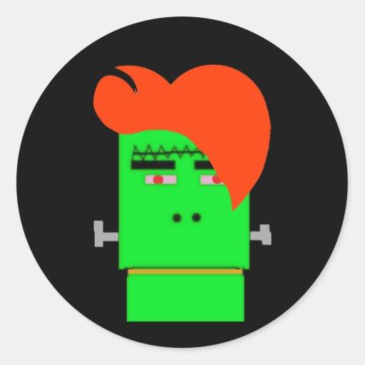 Cartoon Frankenstein's Monster shock orange hair Sticker