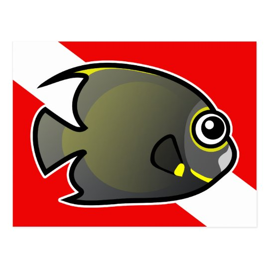 Cartoon French Angelfish Dive Flag Postcard