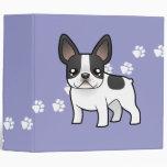 Cartoon French Bulldog 3 Ring Binder