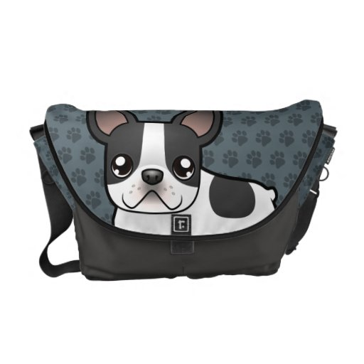 Cartoon French Bulldog Courier Bags