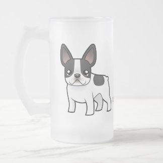 Cartoon French Bulldog Frosted Glass Beer Mug