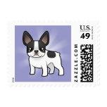 Cartoon French Bulldog Postage Stamp
