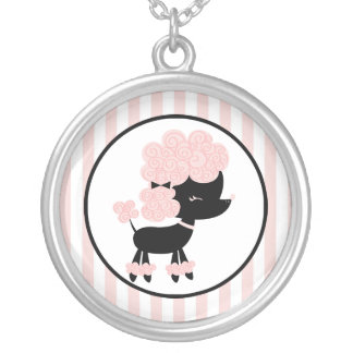 Cartoon French Poodle Round Pendant Necklace