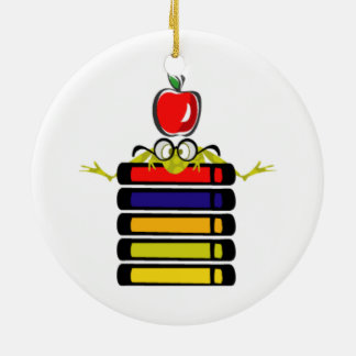 cartoon frog and books ornament