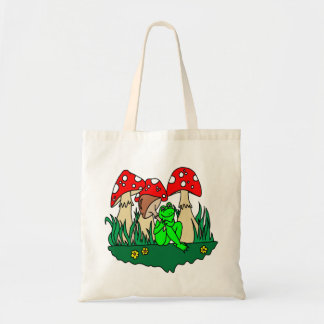 Cartoon Frog and Mushrooms Tote Bag