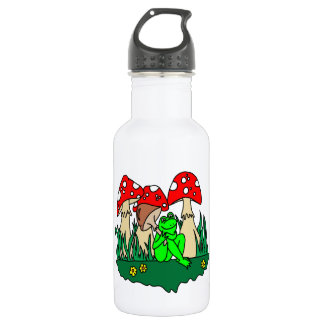 Cartoon Frog and Mushrooms Water Bottle