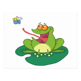 Cartoon Frog Catching Fly Postcard