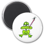 Cartoon Frog eating a fly Fridge Magnets