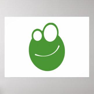 Cartoon Frog Face Poster