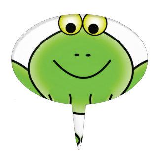 cartoon frog fun art cake topper