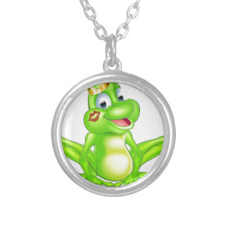 Cartoon frog prince round pendant necklace