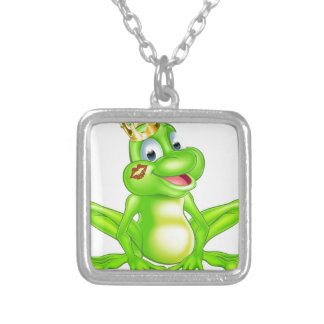 Cartoon frog prince square pendant necklace