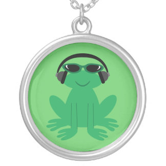 Cartoon Frog With Headphones & Shades Round Pendant Necklace