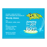 Cartoon frogs jumping for joy Blue Boy Baby Shower 5x7 Paper Invitation Card