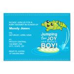 Cartoon frogs jumping for joy Blue Boy Baby Shower Card