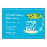 Cartoon frogs jumping for joy Blue Boy Baby Shower Invitations