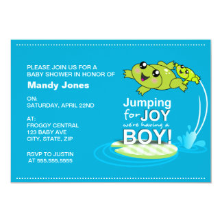 Cartoon frogs jumping for joy Blue Boy Baby Shower Invitations