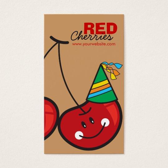 Cartoon Fun Comic Funny Cheeky Red Cherries Cherry Business Card