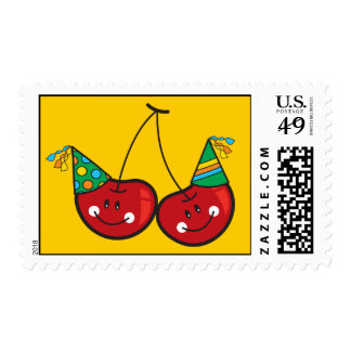 Cartoon Fun Comic Funny Cheeky Red Cherries Cherry Stamps