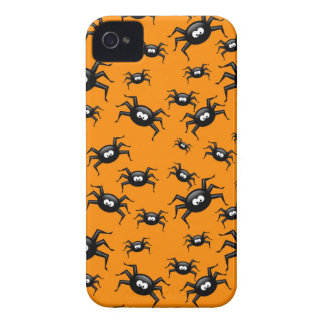 cartoon funny black spiders over yellow background iPhone 4 Case-Mate case