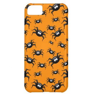 cartoon funny black spiders over yellow background iPhone 5C case