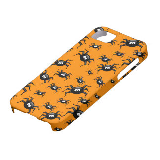 cartoon funny black spiders over yellow background iPhone 5 covers