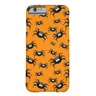 cartoon funny black spiders over yellow background barely there iPhone 6 case