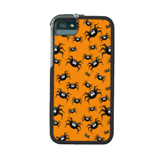 cartoon funny black spiders over yellow background iPhone 5 cover