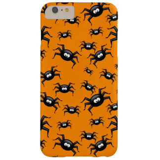 cartoon funny black spiders over yellow background barely there iPhone 6 plus case