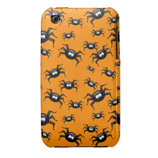 cartoon funny black spiders over yellow background iPhone 3 cover