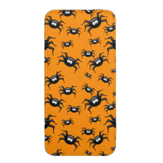 cartoon funny black spiders over yellow background iPhone 5 pouch