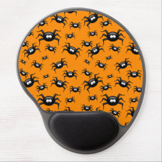 cartoon funny black spiders over yellow background gel mouse mats