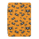 cartoon funny black spiders over yellow background iPad mini cover